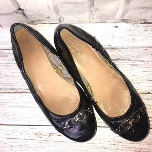 Coach Carlita black patent leather ballet flats